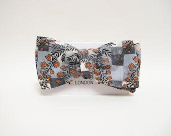 Grey tiles orange floral print bow tie