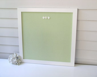 """Square Bulletin Board Message Center - Modern Magnetic Organizer Dorm Decor 23"""" x 23"""" Framed Magnet Board with Pale Green Fabric Shabby Chic"""
