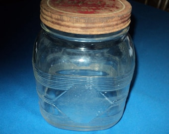 Primitive Clear Glass Coffee Jar With Original Rusty Lid