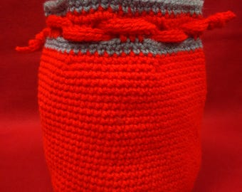 Extra large bucket bag, Red with Gray trim, Drawstring closure