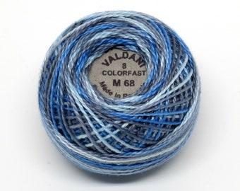 Valdani Pearl Cotton Thread Size 8 Variegated: #M68 Blue Clouds