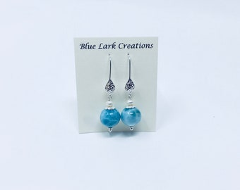 Larimar Earrings, Summer Jewelry, Tropical Gem, Caribbean Inspired Jewelry, Mother's Day, Bridal Parties