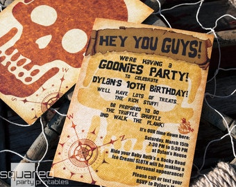 Pirate Party - Goonies Themed Party Invitation - DIY Printable - Birthday Invite - Made to Order - Printed Invitations
