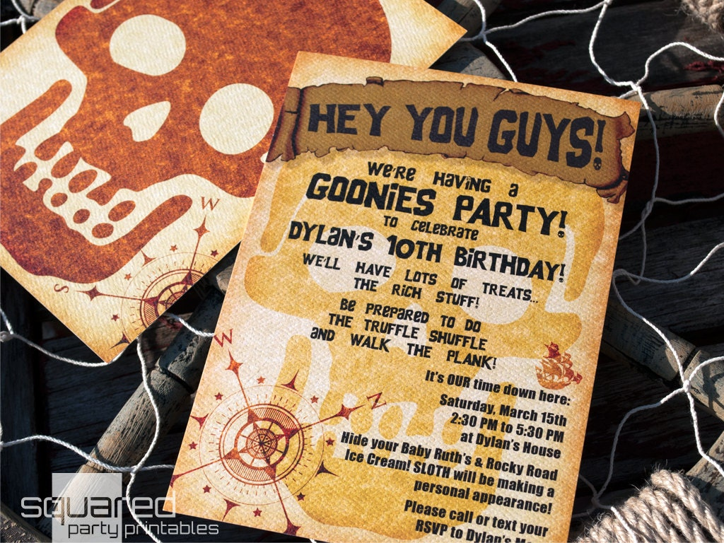 Pirate Party Goonies Themed Party Invitation DIY Printable