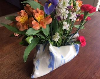 Ceramic Modern sack shape blue and white vase