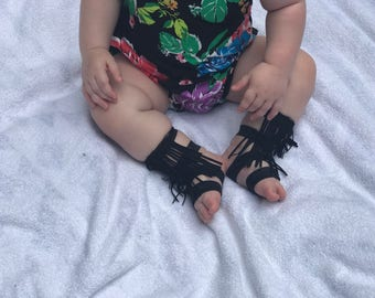 FREE SHIPPING *** Fringe barefoot bottemless gladiator sandals baby kid toddler shoes black
