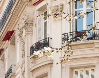 Paris Photography, April in Paris, Blossom Season, Parisian Architecture, Paris in the Springtime, Springtime, Paris Home Decor, Paris Print