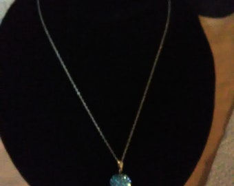 Blue Ball Pendant/Sterling Silver Chain