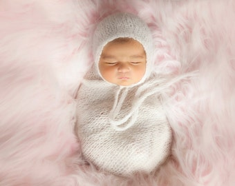 Pattern Newborn Bonnet Pattern and Stretchy Wrap Knitting Pattern