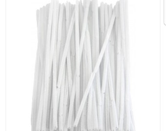 White pipe cleaners, white  chenille stems, chenille stems, pipe cleaners