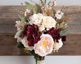 Burgundy Bouquet, Blush Bouquet, Feather Bouquet, Blush Gold Wedding Bouquet, Rustic Bridal Bouquet, Silk Flower Bouquet, Bridal Bouquet