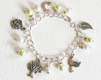Bracelet Gourmette - Paix du Matin - Breloques, perles de Bohème, Métal argenté - Bijou créateur, fait-main, pièce unique