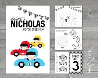 Custom Race Car Activity Book | Race Car Birthday | Racing Birthday | Birthday Activity Book | Race Car Coloring | Racecar Birthday