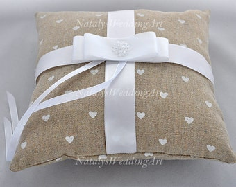 Ring pillow Linen Ring Bearer Pillow Cotton Ring cushion with swarovski clear crystals Woodland / Rustic / Cottage Weddings