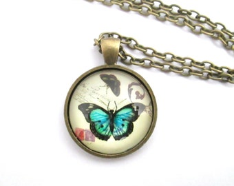 Antique bronze butterfly photo glass cameo necklace