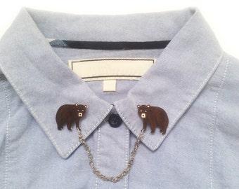 Bear Collar Clip, Handpainted, Jewellery, Shrink Plastic, Jewelry, Collar Chain, woodland, girl jewelry, cub, fashion