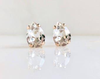 Rose gold earrings with clear Swarovski crystals - pear crystal studs - pear stone earrings - clear crystal earrings