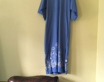 Flamstead of Vermont Maxi Dress Vintage Screenprinted Muumuu Caftan Periwinkle Blue Iris Floral
