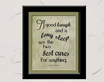 A good laugh and a long sleep, Irish Proverb, Inspirational Wall Art, 8x10 typography illustration, St. Patrick's Day
