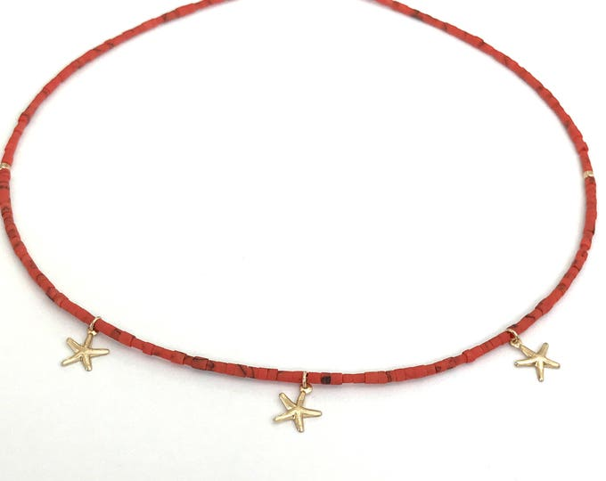 Featured listing image: Tiny Coral Stone 14k Gold Filled Choker, Gold Starfish Necklace, Dainty Beaded Choker