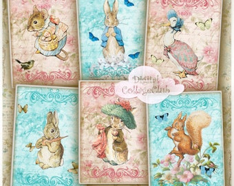 Peter Rabbit Digital Download Invitations Peter Rabbit Party Baby Shower Peter Rabbit Prints Jewelry Holders ATC Cards