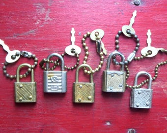 5 Vintage locks and keys Vintage tiny locks Vintage little keys Lock and key sets Vintage diary locks Old luggage locks Mixed media lock #5