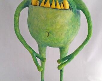 OOAK Halloween Little Green Martian Monster Man Decoration by Lori Platt The Pixie Knoll