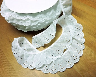 """White Eyelet 2"""" Ruffled Trim ~ 50yds. NEW FULL BOLT made in U.S.A ~ CRaFTeR'S SPeCiAL"""