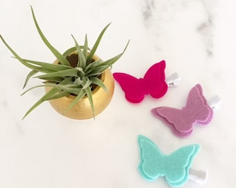 Butterfly Hair Clips, Spring Clips, Baby Hair Clips, Toddler Hair Clips, Felt Clips, Baby Barrettes, Baby Shower Gift, YOU CHOOSE COLORS