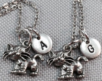 Best friend necklace, cat necklace, kitty cat necklace, sister necklace, friendship necklace, bff necklace, personalized necklace, cat charm