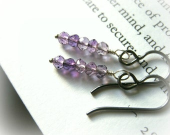 Dainty Ombre Amethyst Earrings - Hypoallergenic Niobium For Sensitive Ears, Feminine Purple February Birthstone