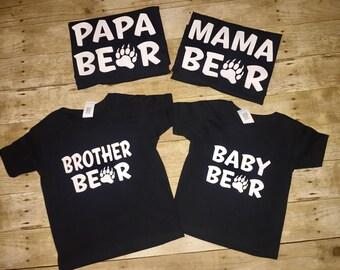 Papa bear shirt, mama bear shirt, Brother bear shirt, Sister bear shirts, Auntie bear shirts, Uncle bear shirts, Baby bear shirts