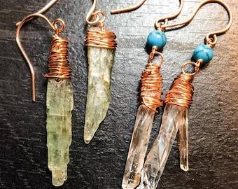 Quartz and Kyanite point earrings!