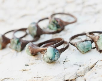 Emerald Ring: emerald promise ring, may birthstone ring, emerald engagement ring, natural emerald ring, raw emerald stone ring, boho rings
