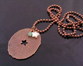 Large Copper Pendant Necklace, Carved Aventurine and MoP Star Necklace, Copper Jewelry, Copper Necklace, Chunky Necklace, N2081