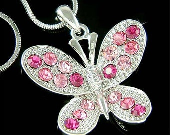 Swarovski Crystal Pink BUTTERFLY Rebirth Soul insect  Wedding Charm Pendant Necklace Jewelry Best Friend Mother's Day New Christmas Gift