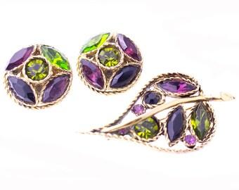 Green and Purple Rhinestone Pin and Earring Set