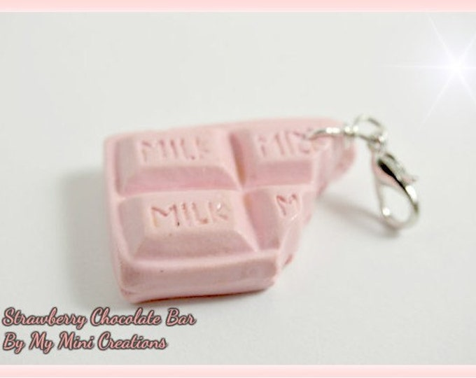 Strawberry Chocolate Bar Charm, Polymer Clay,  Miniature Food, Miniature Food Jewelry