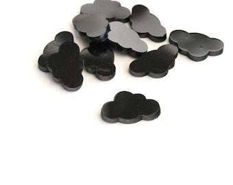 Black Cloud Cabochon, Die Cut Plastic, 13 mm - 10 pieces