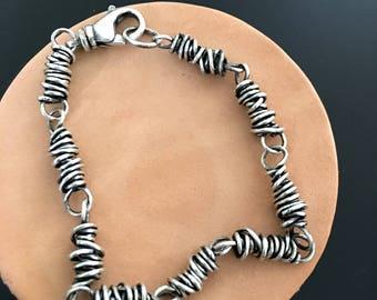 Sterling Silver Twisted Wire Links Bracelet