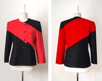 Color Block Jacket, Red and Black Blazer, Statement Jacket, Size 10