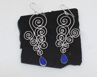 Lapis Lazuli Earrings, 925 Silver Earrings, Blue Stone Earrings, Floral Earrings, Twisted Silver Wire Earrings, Gemstone Earrings