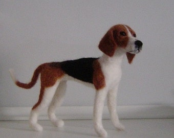 Custom needle felted dog Coonhound Treeing Walker made to order pet portrait memorial sculpture