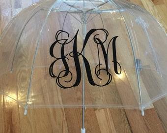 Monogrammed umbrella, personalized Umbrella, great gift, bridesmaid gift, dome umbrella Monogram Umbrella clear bubble wedding day
