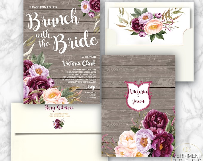 Burgundy Floral Brunch with the Bride Invitation / Bridal Shower / Rustic Wood / Watercolor / Purple / Pink /Flowers / FLORENCE COLLECTION