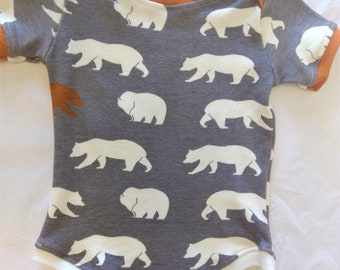 ORGANIC Baby Bodysuit Bears - 3 mos - HANDMADE