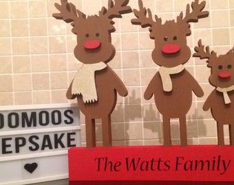 Personalised reindeer family christmas decoration, Christmas plaques, gifts for christmas, Reindeer decoration, Christmas reindeers.