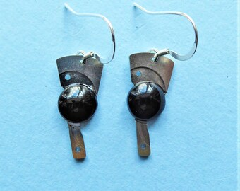 Whitby Jet and Recycled Watch Parts Earrings