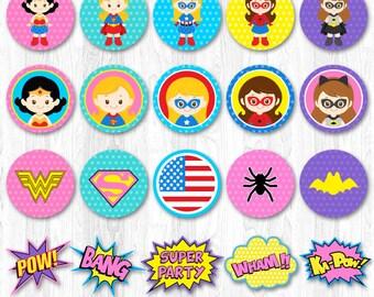 Superhero Girl Cupcake Toppers, Superhero Girl Cupcake Wrappers, Super Girl Cupcake Topper