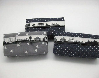 Kassel skyline, tissue pouch as memory or voucher, gift for apartment move